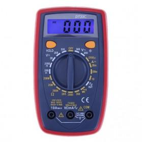 Pocket Size Digital Multimeter AC/DC Voltage Tester with Temperature Probe - DT33C - Blue