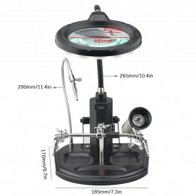 YUPEI Alat Pegangan Solder Helping Hand dan Kaca Pembesar 16SMD LED - TE-802 - Black - 2