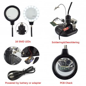 YUPEI Alat Pegangan Solder Helping Hand dan Kaca Pembesar 16SMD LED - TE-802 - Black - 4