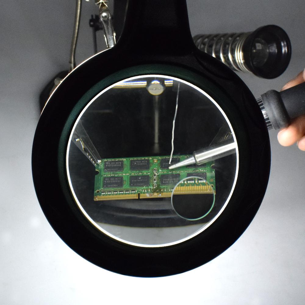Tempat Jual Alat Pegangan Solder Helping Hand Kaca Pembesar Lampu Cellkit Dan 16smd Led Te 802 Black
