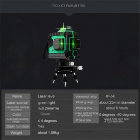 VAHIGCY Self Leveling 3D Wall Meter Laser Beam 12 Line - Red - 9