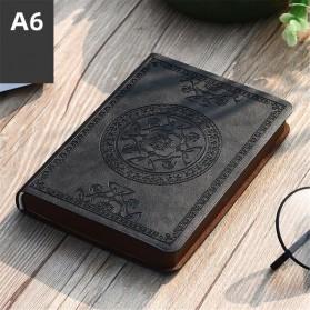 Buku Catatan Jurnal Notebook Cover Vintage Pattern PU Leather A6 - HXBD7 - Black
