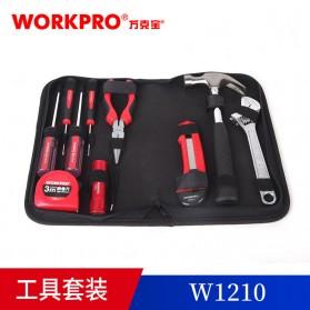 WORKPRO Alat Set Perkakas Palu Tang Obeng Kunci Pas Senter 10 in 1 - W1210