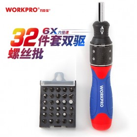 WORKPRO Obeng Double Drive 6x Speed 32 in 1