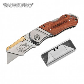 WORKPRO Pisau Lipat Cutter EDC Wood Handle with 10 PCS Blade - W011021AE