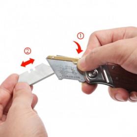 WORKPRO Pisau Lipat Cutter EDC Wood Handle with 10 PCS Blade - W011021AE - 7