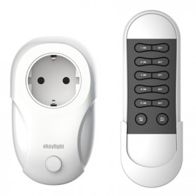 OkayLight Stop Kontak Power Socket with Remote Control - RC100+OPS200R - White