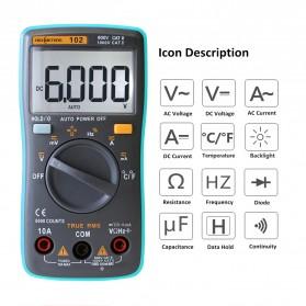 RICHMETERS Pocket Size Digital Multimeter AC/DC Voltage Tester with Temperature Measurement - RM102 - Black - 3