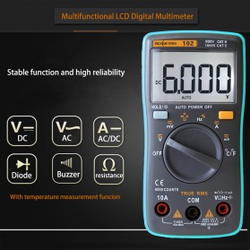 RICHMETERS Pocket Size Digital Multimeter AC/DC Voltage Tester with Temperature Measurement - RM102 - Black - 4