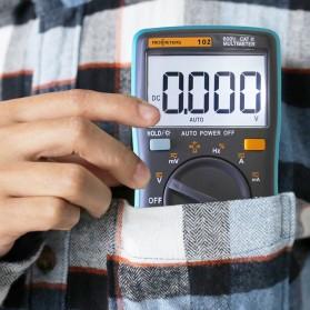 RICHMETERS Pocket Size Digital Multimeter AC/DC Voltage Tester with Temperature Measurement - RM102 - Black - 5