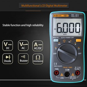 RICHMETERS Pocket Size Digital Multimeter AC/DC Voltage Tester - RM101 - Black - 5