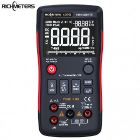 RICHMETERS Pocket Size Digital Multimeter True-RMS AC/DC Voltage Tester - RM409B - Black