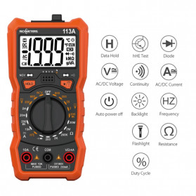 RICHMETERS Pocket Size Digital Multimeter AC/DC Voltage Tester - RM113A - Black