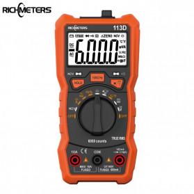 RICHMETERS Pocket Size Digital Multimeter AC/DC Voltage Tester - RM113D - Black