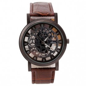 Shshd Jam Tangan Analog Pria Hollow Skeleton Design - GMT886 - Brown