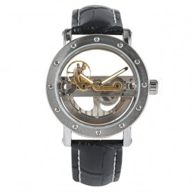 YISUYA Jam Tangan Analog Pria Mechanical Hollow Skeleton Design - W188501 - Black/Silver