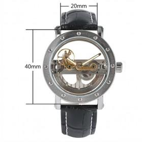 YISUYA Jam Tangan Analog Pria Mechanical Hollow Skeleton Design - W188501 - Black/Silver - 4