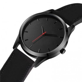 JEANE CARTER Jam Tangan Kasual Pria PU Leather - T1400 - Black - 2