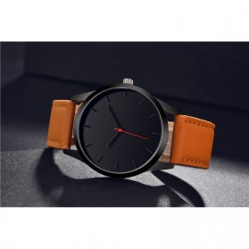 JEANE CARTER Jam Tangan Kasual Pria PU Leather - T1400 - Black - 5