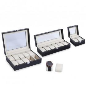 JOCESTYLE Kotak Jam Tangan Watch Jewelry Box Kulit 2 Grids - JOW2 - Black - 2