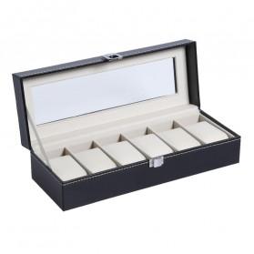 JOCESTYLE Kotak Jam Tangan Watch Jewelry Box Kulit 2 Grids - JOW2 - Black - 3