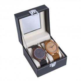 JOCESTYLE Kotak Jam Tangan Watch Jewelry Box Kulit 2 Grids - JOW2 - Black - 4