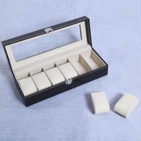 JOCESTYLE Kotak Jam Tangan Watch Jewelry Box Kulit 2 Grids - JOW2 - Black - 5