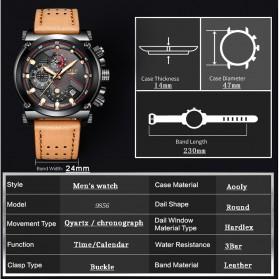 LIGE Jam Tangan Kasual Pria PU Leather - 9856 - Black - 4
