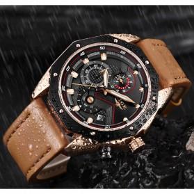 LIGE Jam Tangan Kasual Pria PU Leather - 9856 - Black - 6