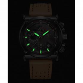 LIGE Jam Tangan Kasual Pria PU Leather - 9856 - Black - 7