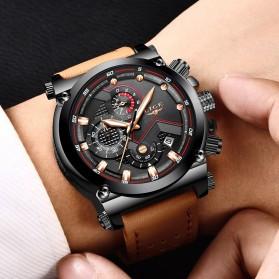 LIGE Jam Tangan Kasual Pria PU Leather - 9856 - Black - 10