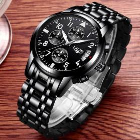 LIGE Jam Tangan Kasual Pria Stainless Steel - 9825 - Black - 3