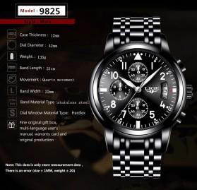 LIGE Jam Tangan Kasual Pria Stainless Steel - 9825 - Black - 8