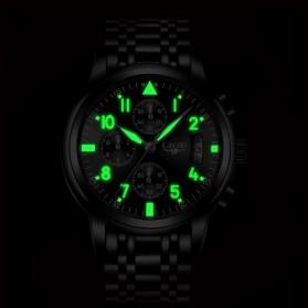 LIGE Jam Tangan Kasual Pria Stainless Steel - 9825 - Black - 9