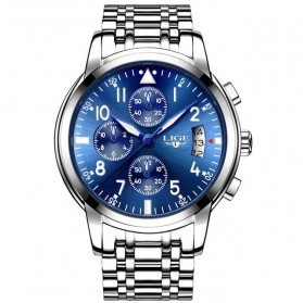 LIGE Jam Tangan Kasual Pria Stainless Steel - 9825 - Silver Blue