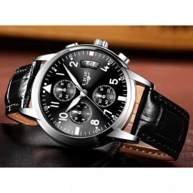 LIGE Jam Tangan Kasual Pria PU Leather - 9825 - Black - 2