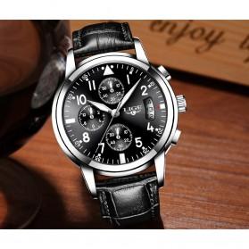LIGE Jam Tangan Kasual Pria PU Leather - 9825 - Black - 3