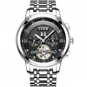 LIGE Jam Tangan Pria Automatic Mechanical Stainless Steel - 9841 - Silver Black