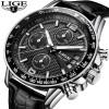 LIGE Jam Tangan Kasual Pria PU Leather - 9825B - Black