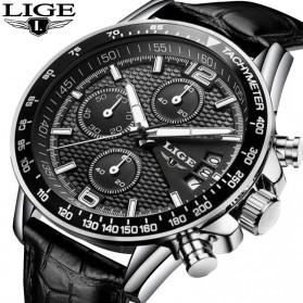 Trend Fashion Pria Terbaru - LIGE Jam Tangan Kasual Pria PU Leather - 9825B - Black