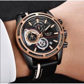 LIGE Jam Tangan Chronograph Pria Strap Kulit - 9881 - Rose Gold/Black - 2