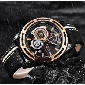 LIGE Jam Tangan Chronograph Pria Strap Kulit - 9881 - Rose Gold/Black - 3