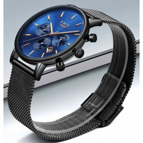 LIGE Jam Tangan Chronograph Pria Strap Stainless Steel - 9894 - Black/Blue - 3