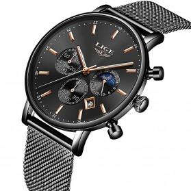 LIGE Jam Tangan Chronograph Pria Strap Stainless Steel - 9894 - Black
