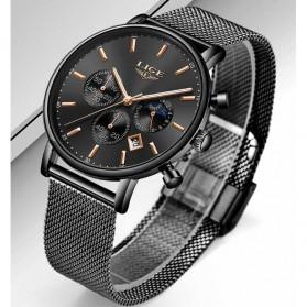 LIGE Jam Tangan Chronograph Pria Strap Stainless Steel - 9894 - Black - 3