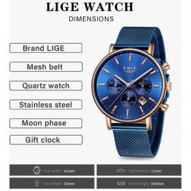 LIGE Jam Tangan Chronograph Pria Strap Stainless Steel - 9894 - Black - 7