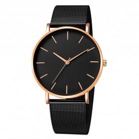 Trend Fashion Pria Terbaru - Relogio Jam Tangan Kasual Pria Milanese Stainless Steel - 3294 - Black Gold