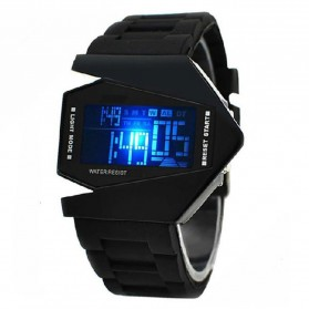Airplane Style Plastic Housing Rubber Waterproof Sport Watch - Black