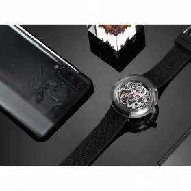 Xiaomi CIGA T Series Jam Tangan Mechanical Watch Hollow Silicone Strap - Black - 5