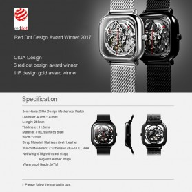 Xiaomi CIGA T Series Jam Tangan Mechanical Watch Skeleton Model Kotak - Silver - 10